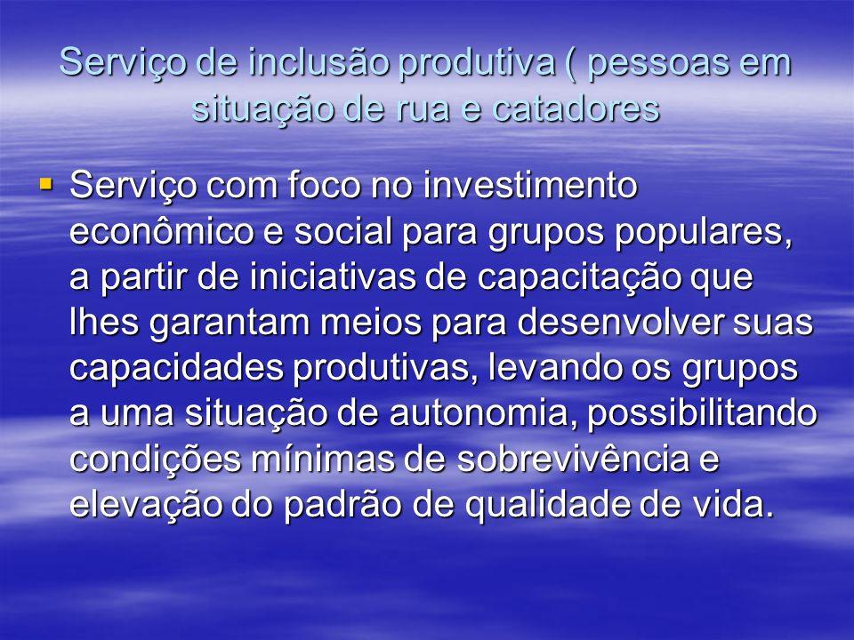 Serviço de inclusão produtiva ( pessoas em situação de rua e catadores