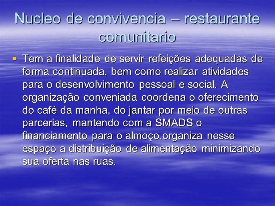 Nucleo de convivencia – restaurante comunitario