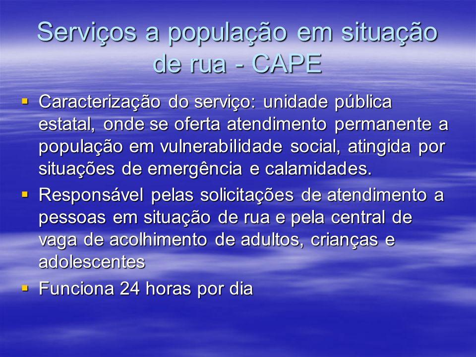 Serviços a população em situação de rua - CAPE