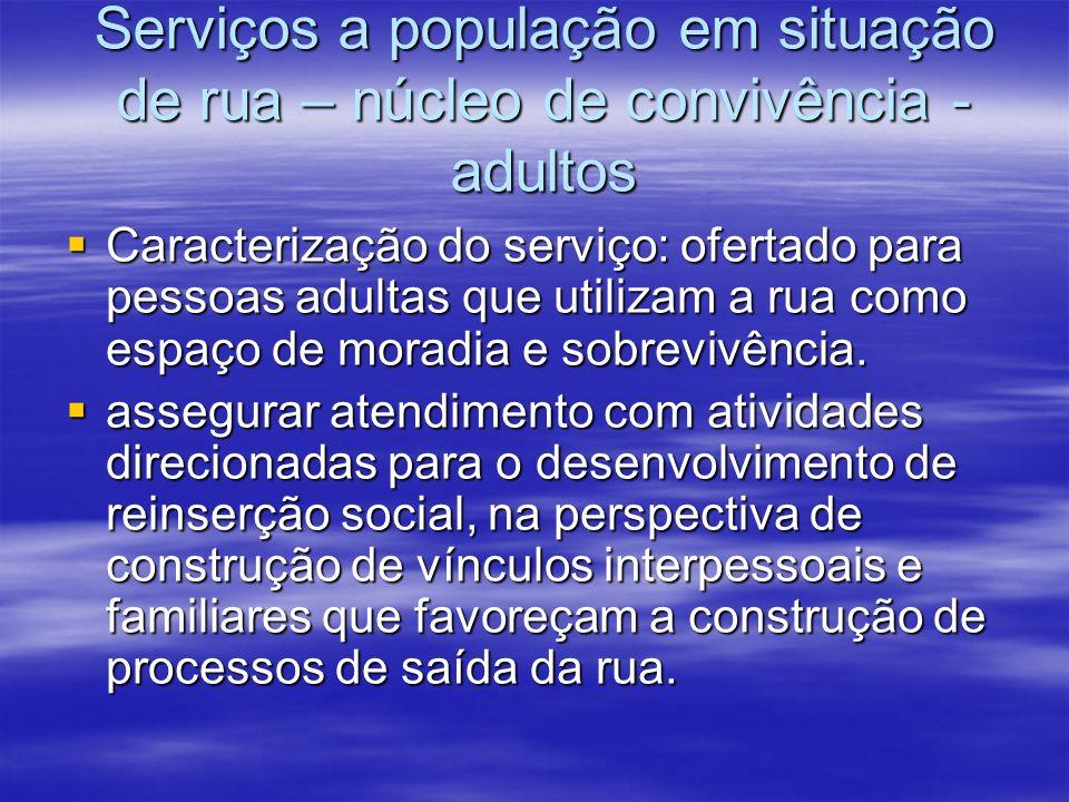 Serviços a população em situação de rua – núcleo de convivência - adultos