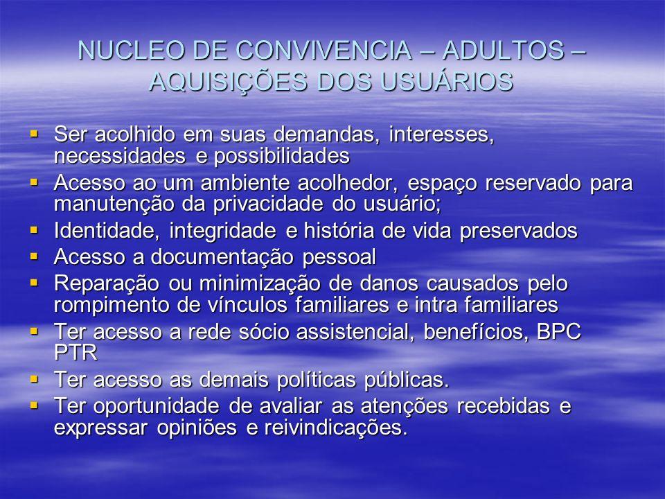 NUCLEO DE CONVIVENCIA – ADULTOS – AQUISIÇÕES DOS USUÁRIOS