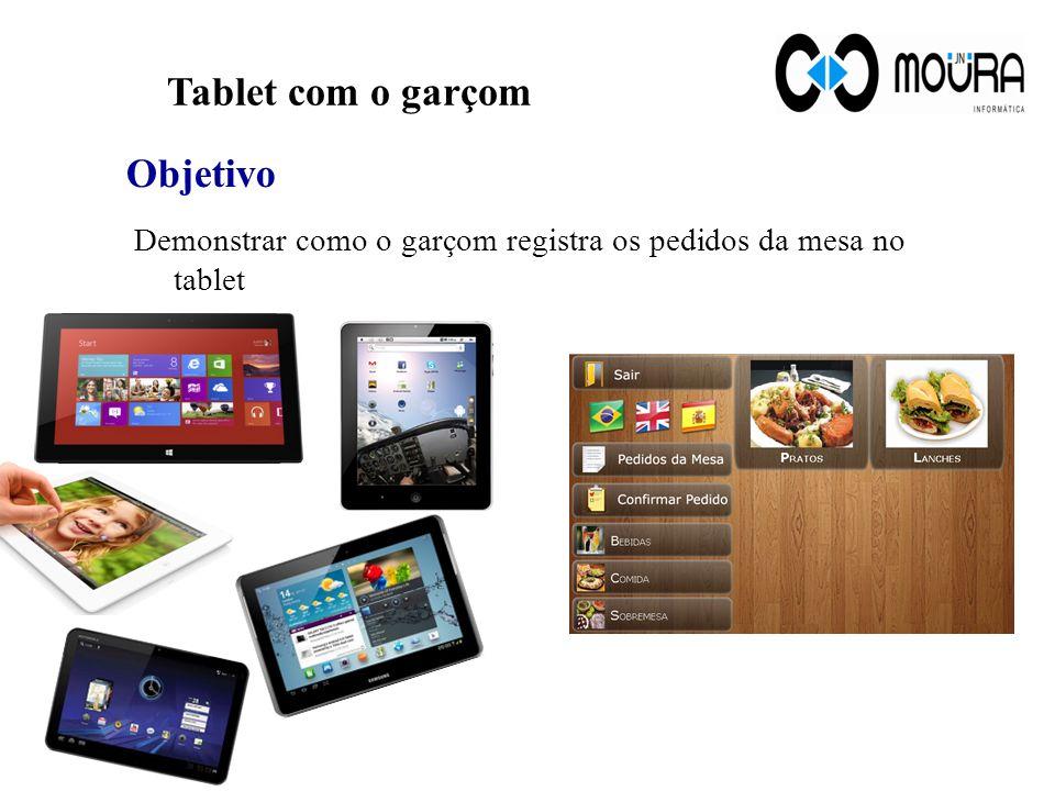 Tablet com o garçom Demonstrar como o garçom registra os pedidos da mesa no tablet