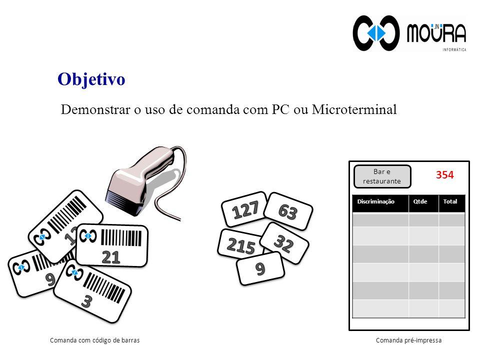 Demonstrar o uso de comanda com PC ou Microterminal