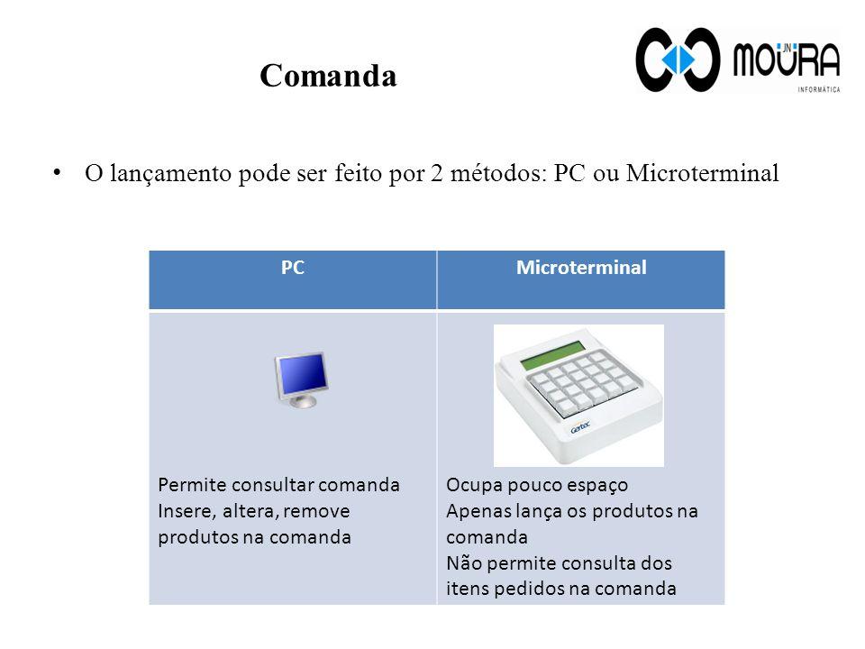 Comanda O lançamento pode ser feito por 2 métodos: PC ou Microterminal