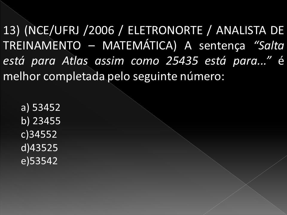13) (NCE/UFRJ /2006 / ELETRONORTE / ANALISTA DE TREINAMENTO – MATEMÁTICA) A sentença Salta está para Atlas assim como 25435 está para... é melhor completada pelo seguinte número:
