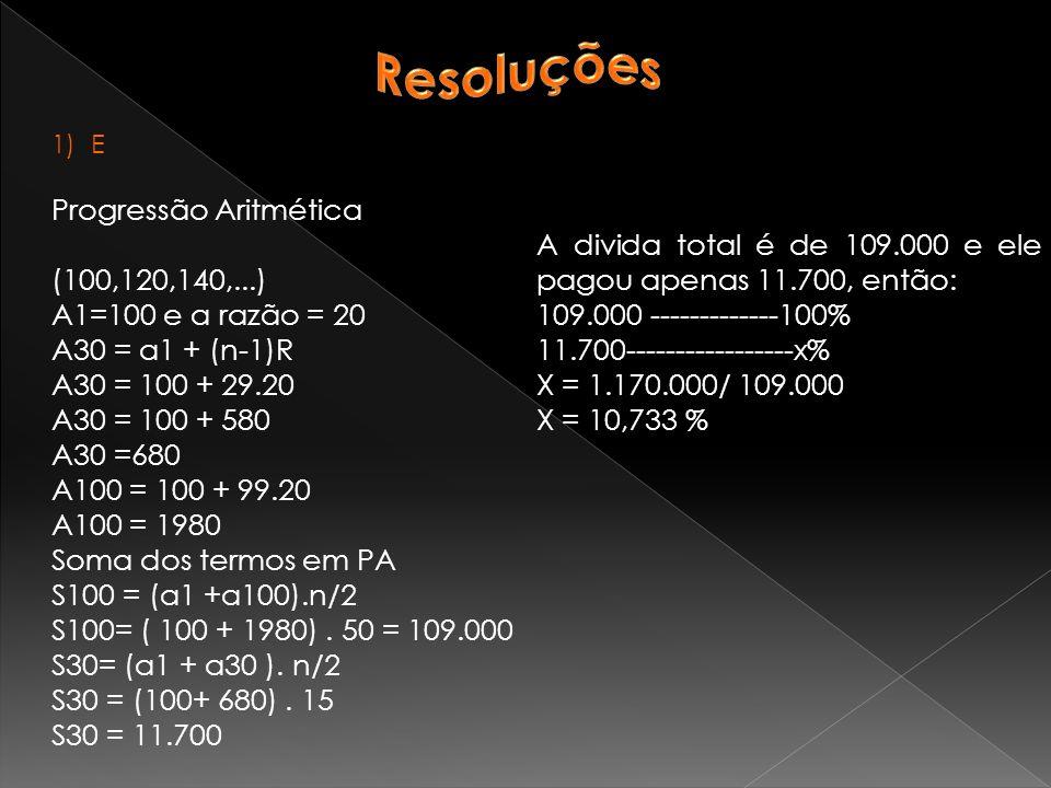 Resoluções Progressão Aritmética (100,120,140,...)