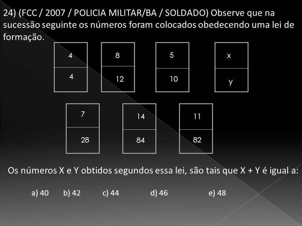24) (FCC / 2007 / POLICIA MILITAR/BA / SOLDADO) Observe que na sucessão seguinte os números foram colocados obedecendo uma lei de formação.