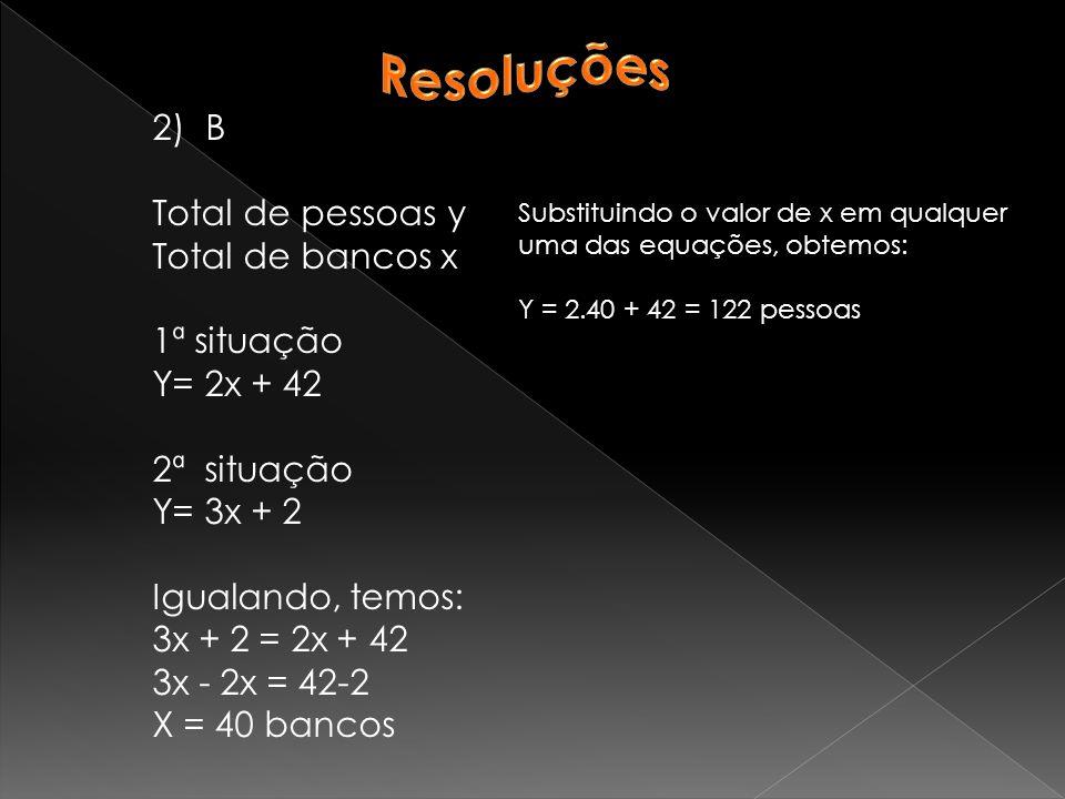 Resoluções B Total de pessoas y Total de bancos x 1ª situação