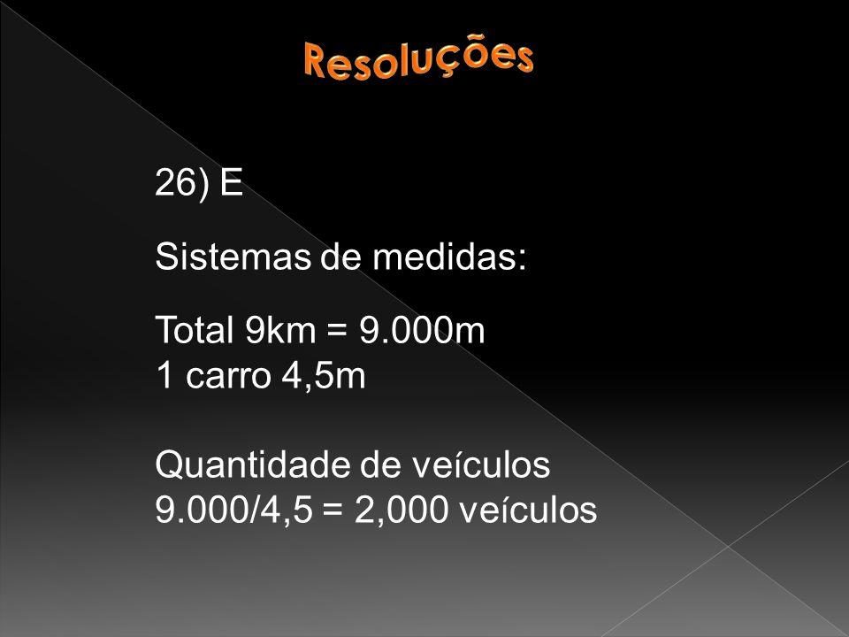Resoluções 26) E. Sistemas de medidas: Total 9km = 9.000m. 1 carro 4,5m. Quantidade de veículos.