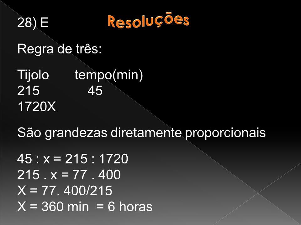 28) E Regra de três: Tijolo tempo(min) 215 45. X. São grandezas diretamente proporcionais.