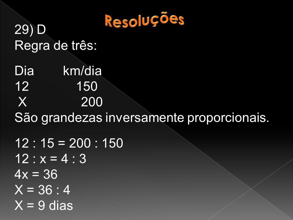 Resoluções 29) D. Regra de três: Dia km/dia. 12 150. X 200. São grandezas inversamente proporcionais.