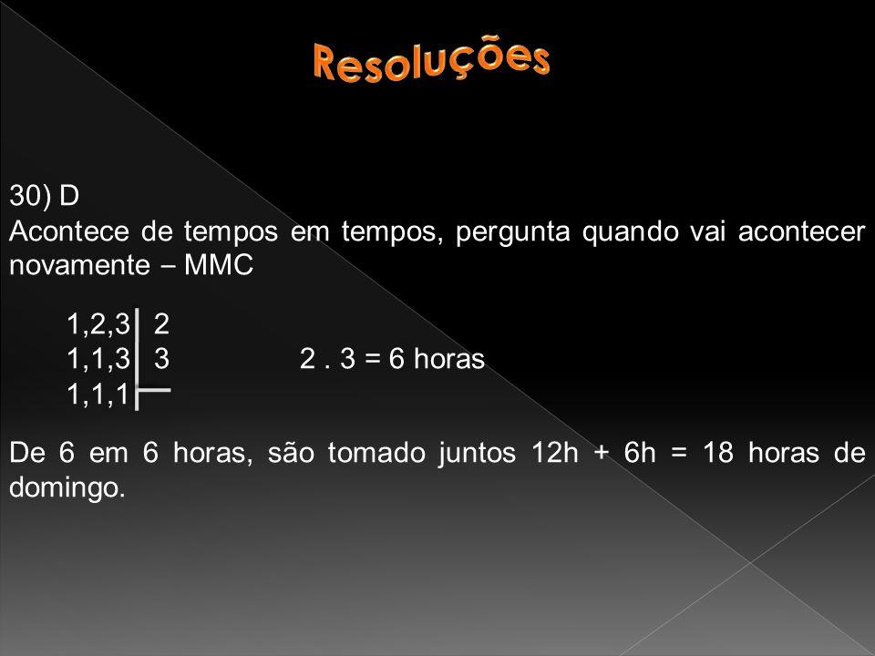 Resoluções 30) D. Acontece de tempos em tempos, pergunta quando vai acontecer novamente – MMC. 1,2,3 2.