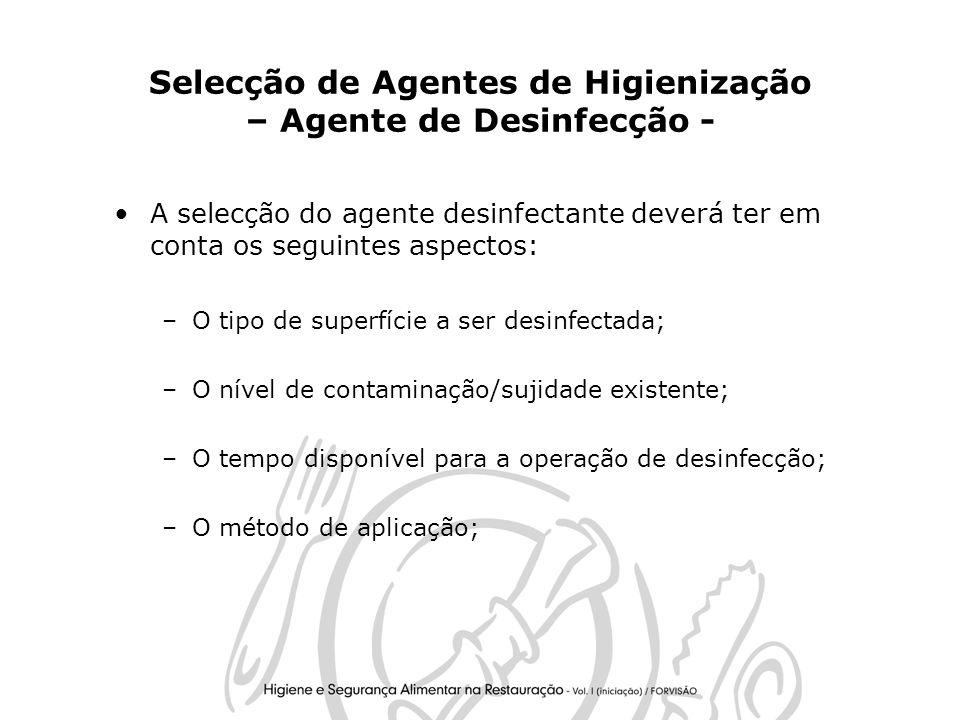 Selecção de Agentes de Higienização – Agente de Desinfecção -