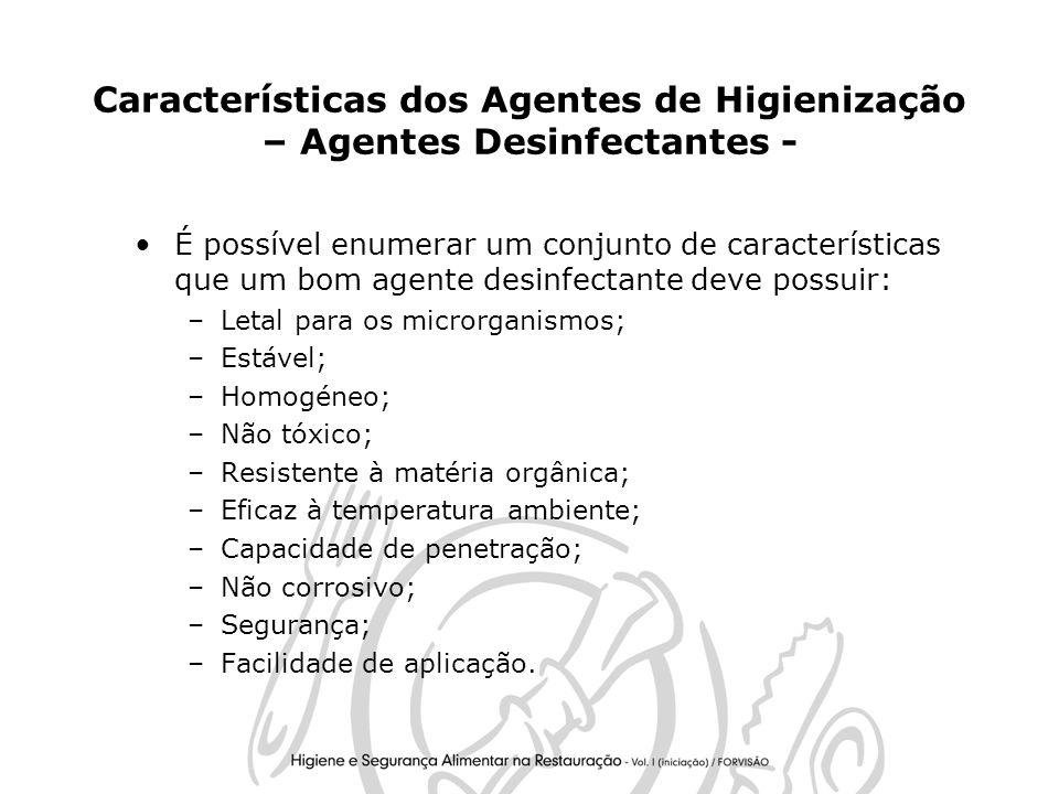 Características dos Agentes de Higienização – Agentes Desinfectantes -