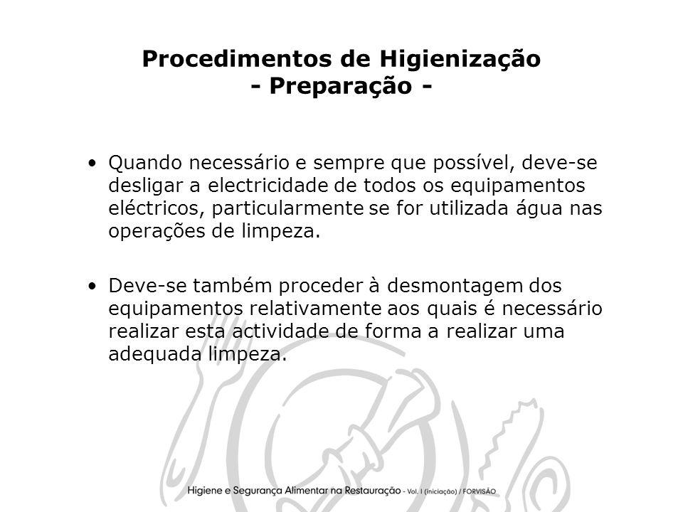 Procedimentos de Higienização - Preparação -