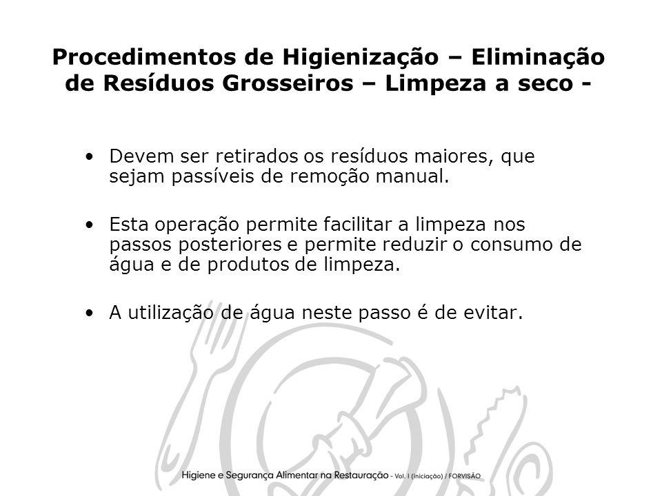 Procedimentos de Higienização – Eliminação de Resíduos Grosseiros – Limpeza a seco -
