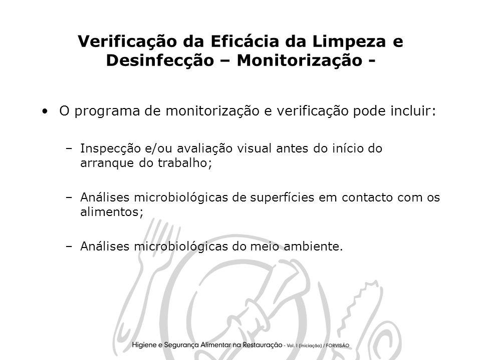 Verificação da Eficácia da Limpeza e Desinfecção – Monitorização -