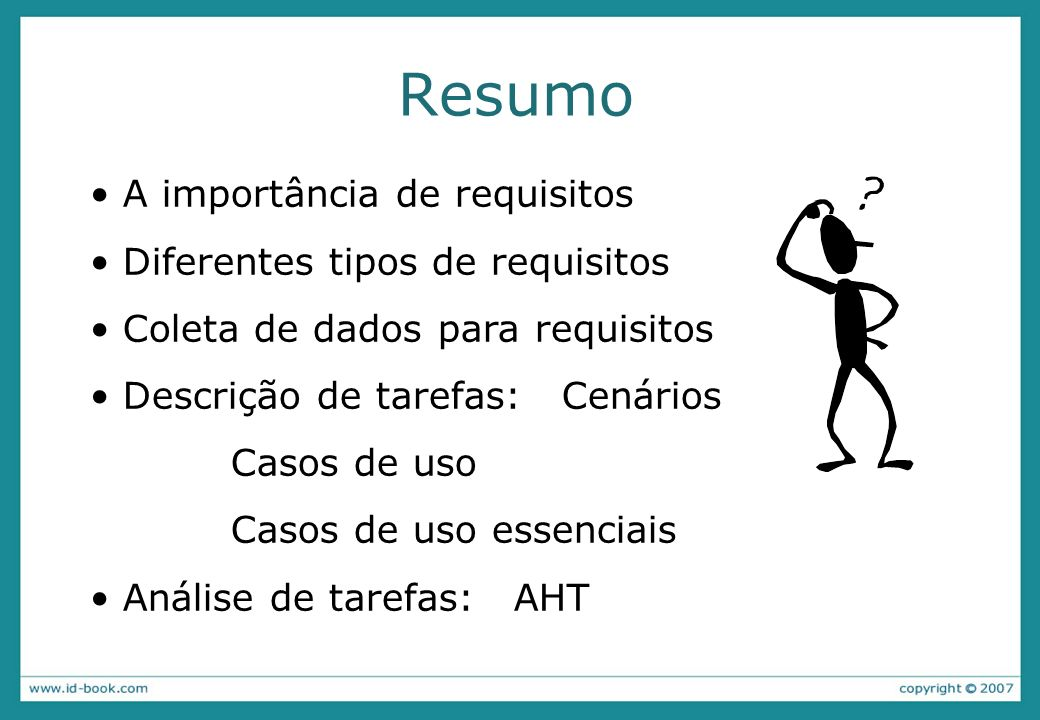 Resumo A importância de requisitos Diferentes tipos de requisitos