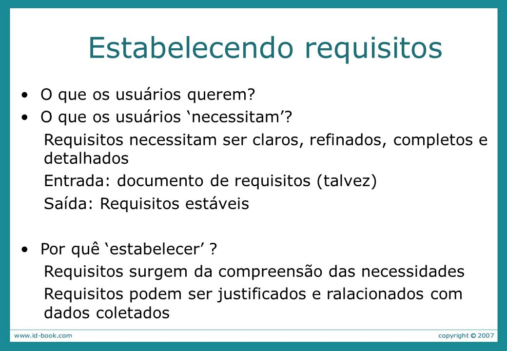 Estabelecendo requisitos
