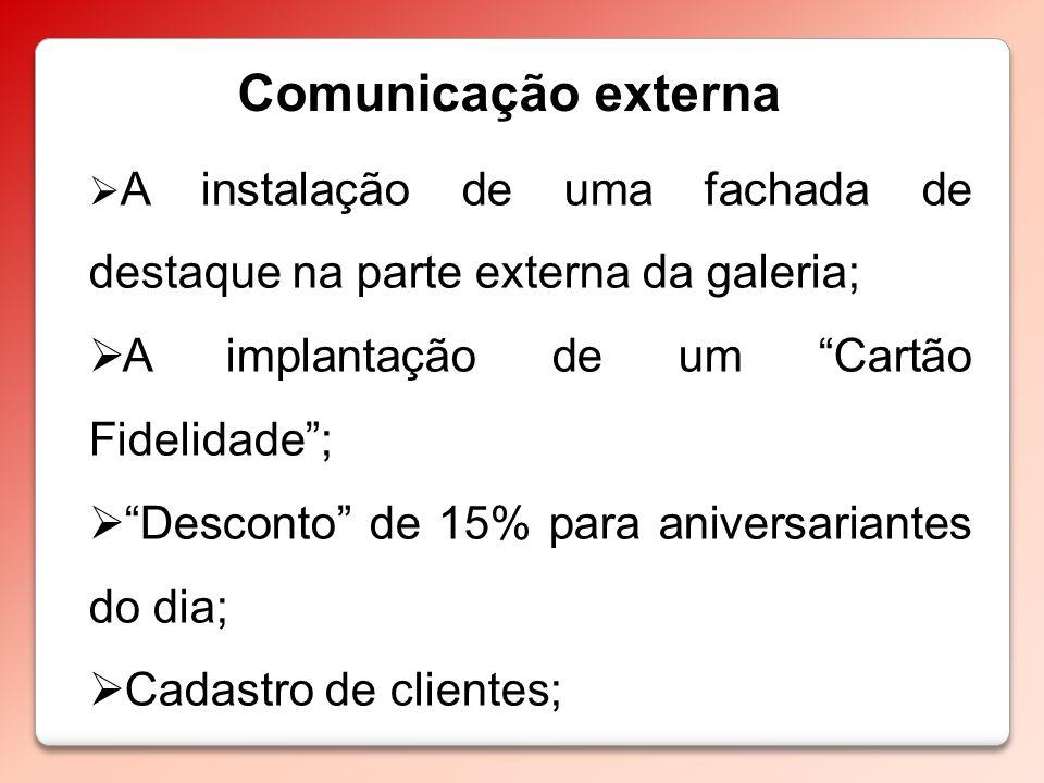 Comunicação externa A implantação de um Cartão Fidelidade ;