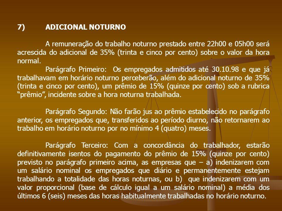 7) ADICIONAL NOTURNO
