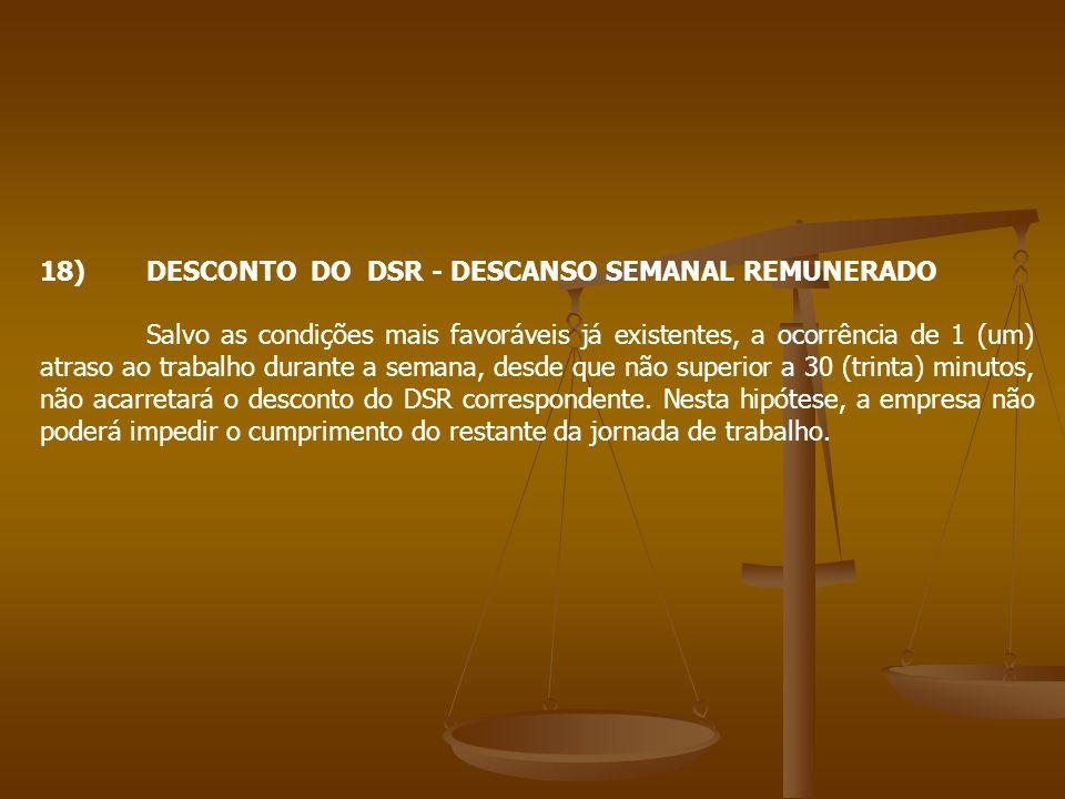 18) DESCONTO DO DSR - DESCANSO SEMANAL REMUNERADO