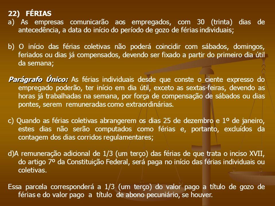 22) FÉRIAS