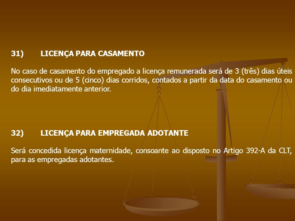 31) LICENÇA PARA CASAMENTO