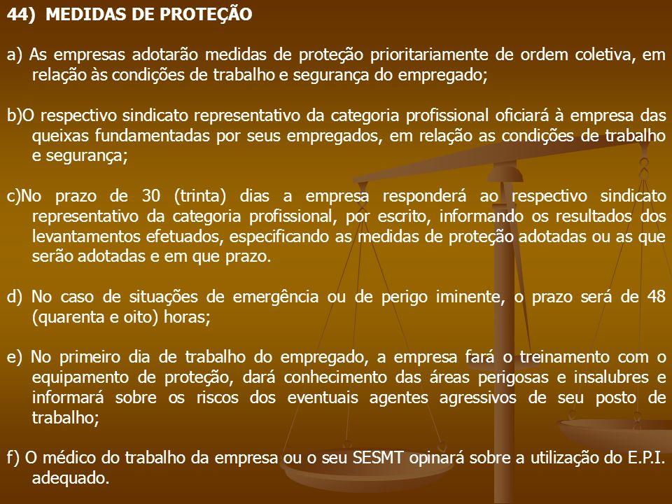 44) MEDIDAS DE PROTEÇÃO