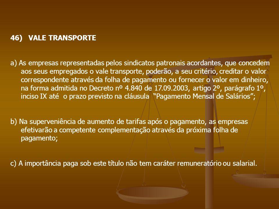 46) VALE TRANSPORTE
