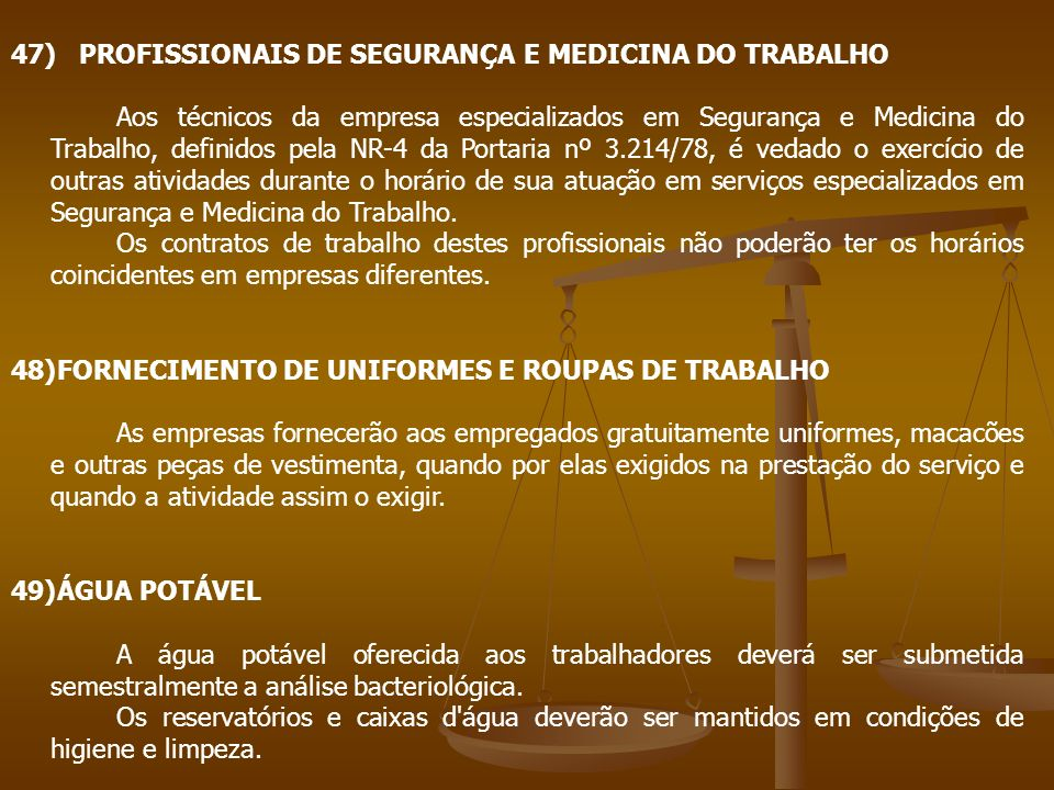 47) PROFISSIONAIS DE SEGURANÇA E MEDICINA DO TRABALHO