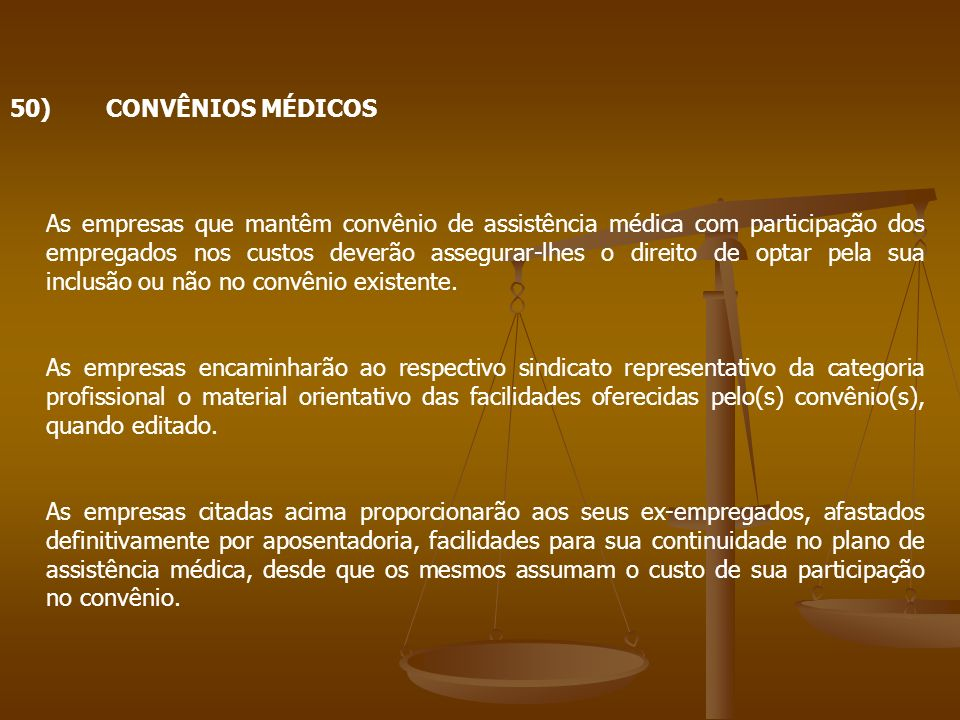 50) CONVÊNIOS MÉDICOS