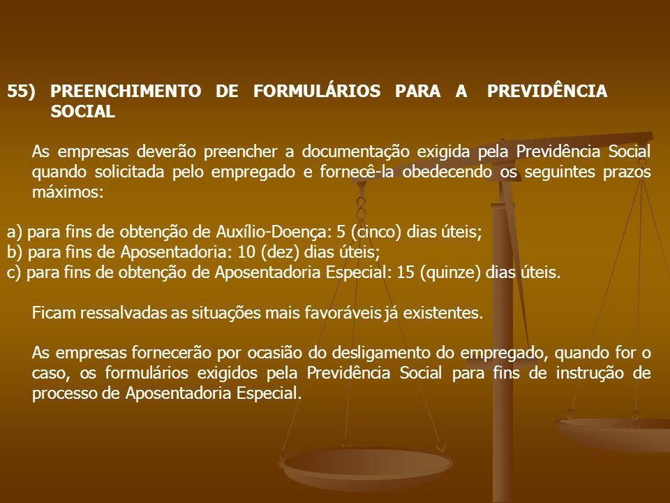 55) PREENCHIMENTO DE FORMULÁRIOS PARA A PREVIDÊNCIA