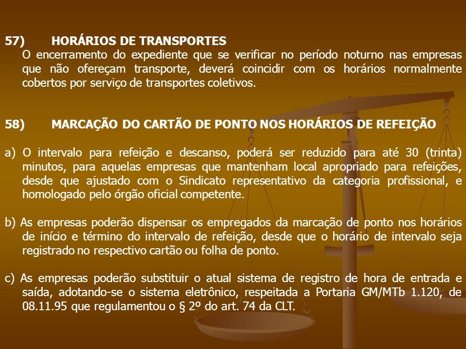 57) HORÁRIOS DE TRANSPORTES