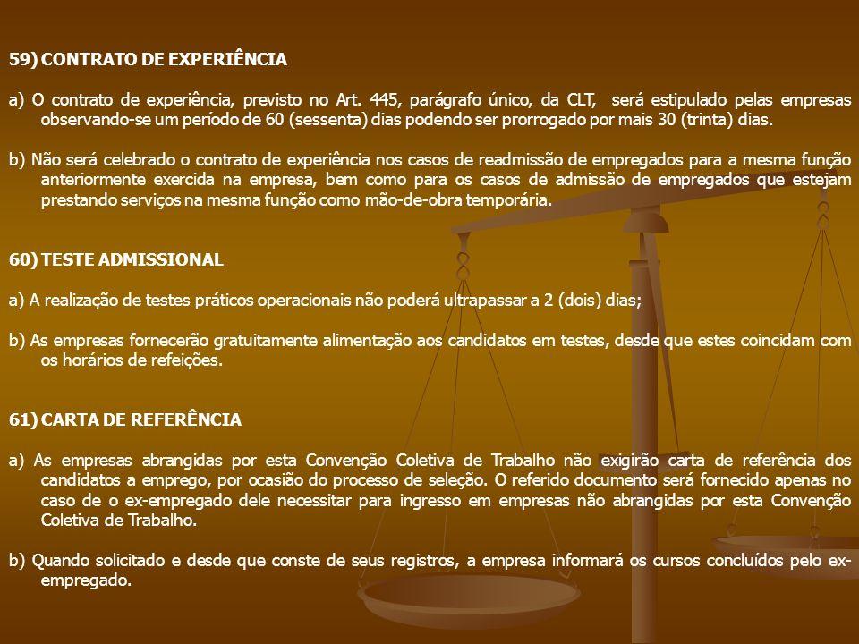 59) CONTRATO DE EXPERIÊNCIA