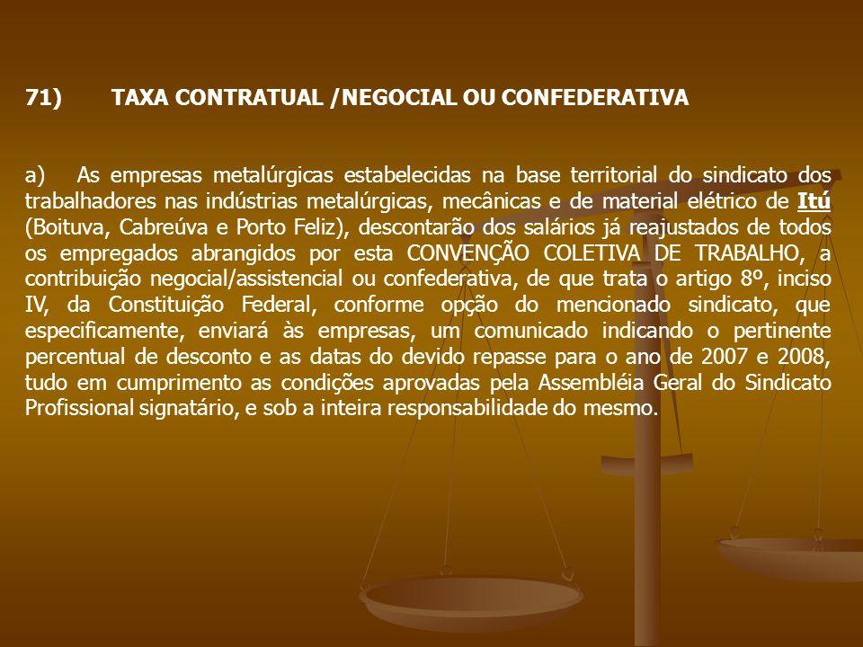 71) TAXA CONTRATUAL /NEGOCIAL OU CONFEDERATIVA