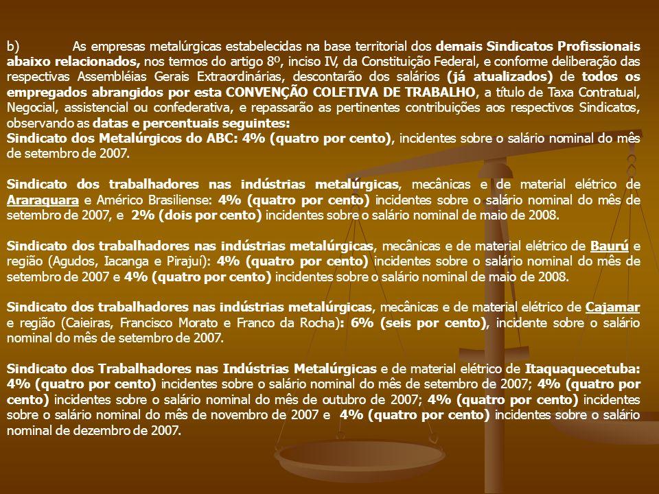 b) As empresas metalúrgicas estabelecidas na base territorial dos demais Sindicatos Profissionais abaixo relacionados, nos termos do artigo 8º, inciso IV, da Constituição Federal, e conforme deliberação das respectivas Assembléias Gerais Extraordinárias, descontarão dos salários (já atualizados) de todos os empregados abrangidos por esta CONVENÇÃO COLETIVA DE TRABALHO, a título de Taxa Contratual, Negocial, assistencial ou confederativa, e repassarão as pertinentes contribuições aos respectivos Sindicatos, observando as datas e percentuais seguintes: