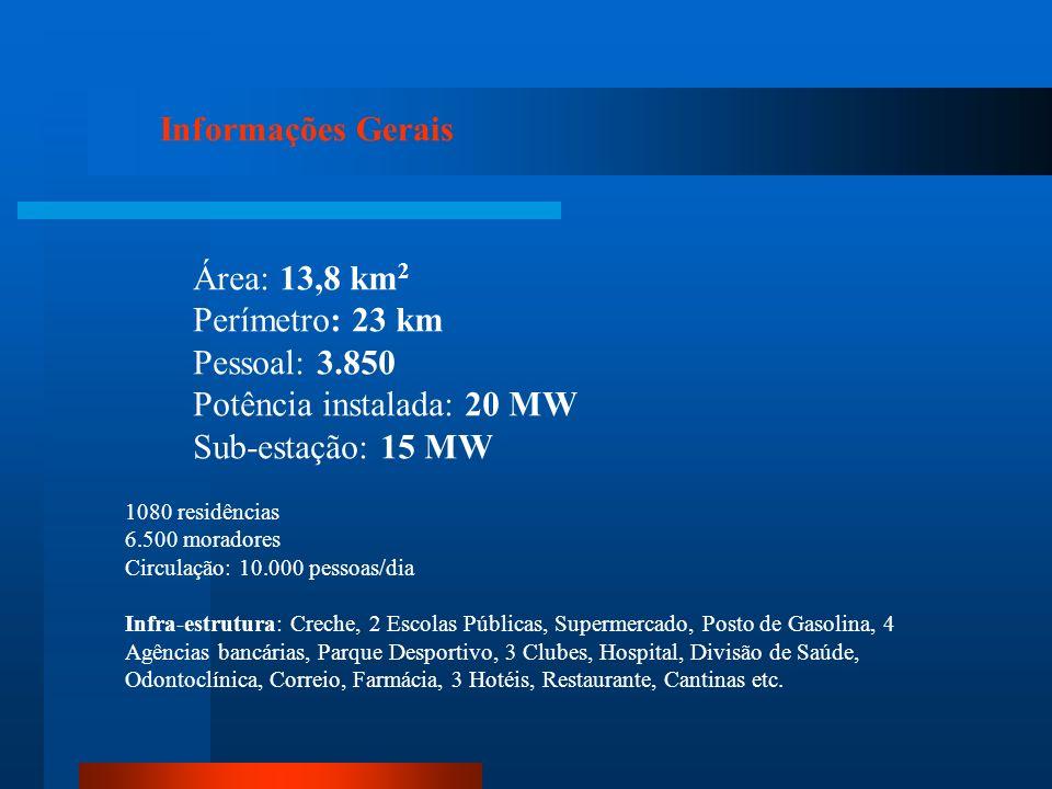 Potência instalada: 20 MW Sub-estação: 15 MW