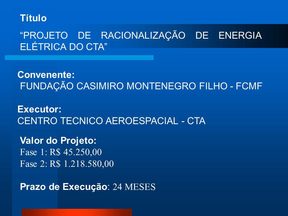Título PROJETO DE RACIONALIZAÇÃO DE ENERGIA ELÉTRICA DO CTA Convenente: FUNDAÇÃO CASIMIRO MONTENEGRO FILHO - FCMF.