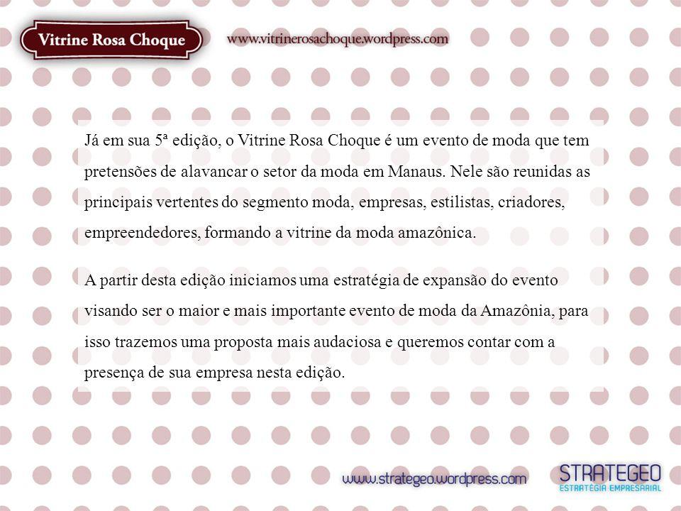 Já em sua 5ª edição, o Vitrine Rosa Choque é um evento de moda que tem pretensões de alavancar o setor da moda em Manaus. Nele são reunidas as principais vertentes do segmento moda, empresas, estilistas, criadores, empreendedores, formando a vitrine da moda amazônica.