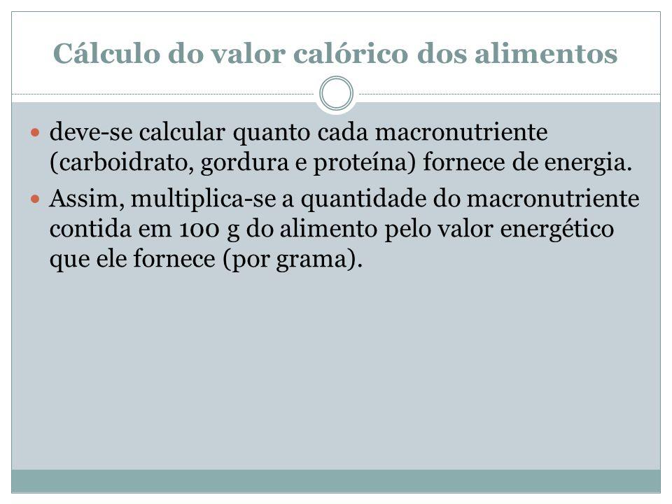 Cálculo do valor calórico dos alimentos