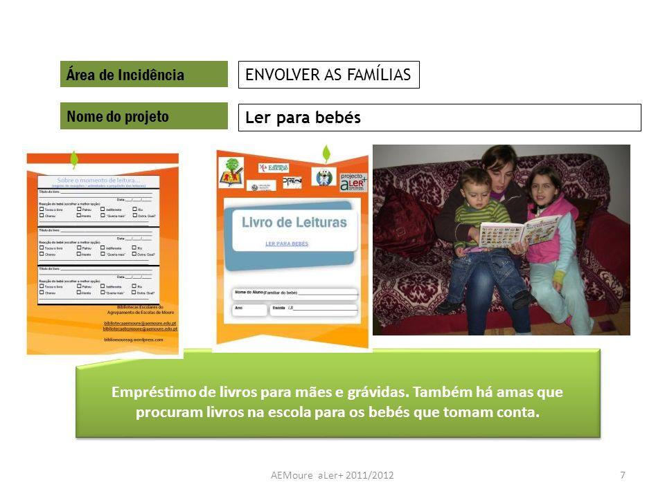 Área de Incidência ENVOLVER AS FAMÍLIAS Nome do projeto Ler para bebés