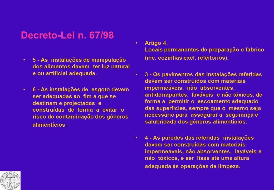 Decreto-Lei n. 67/98 Artigo 4. Locais permanentes de preparação e fabrico (inc. cozinhas excl. refeitorios).