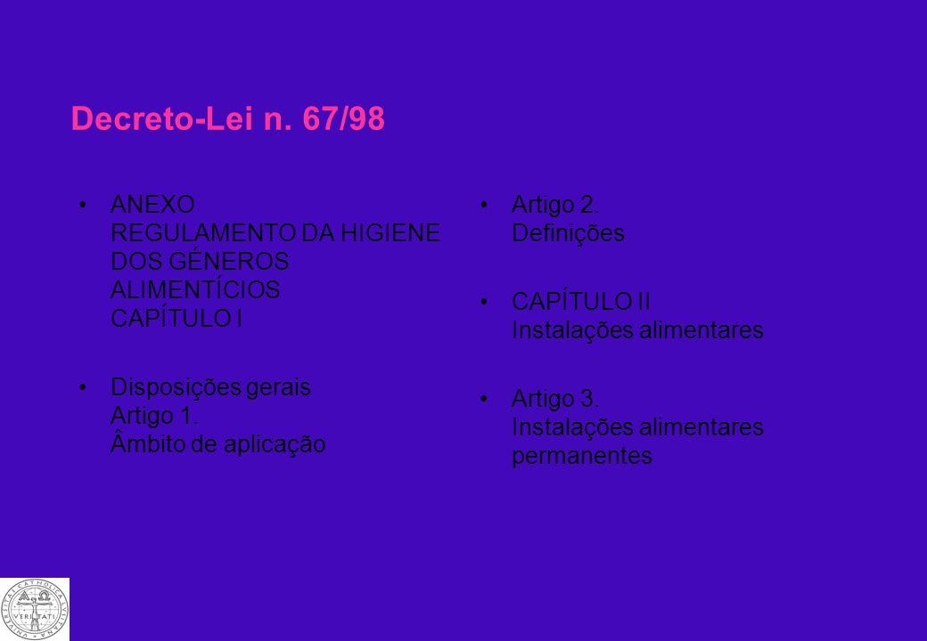 Decreto-Lei n. 67/98 ANEXO REGULAMENTO DA HIGIENE DOS GÉNEROS ALIMENTÍCIOS CAPÍTULO I. Disposições gerais Artigo 1. Âmbito de aplicação.