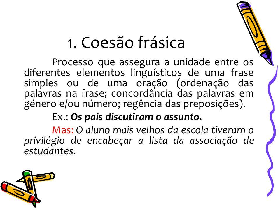 1. Coesão frásica