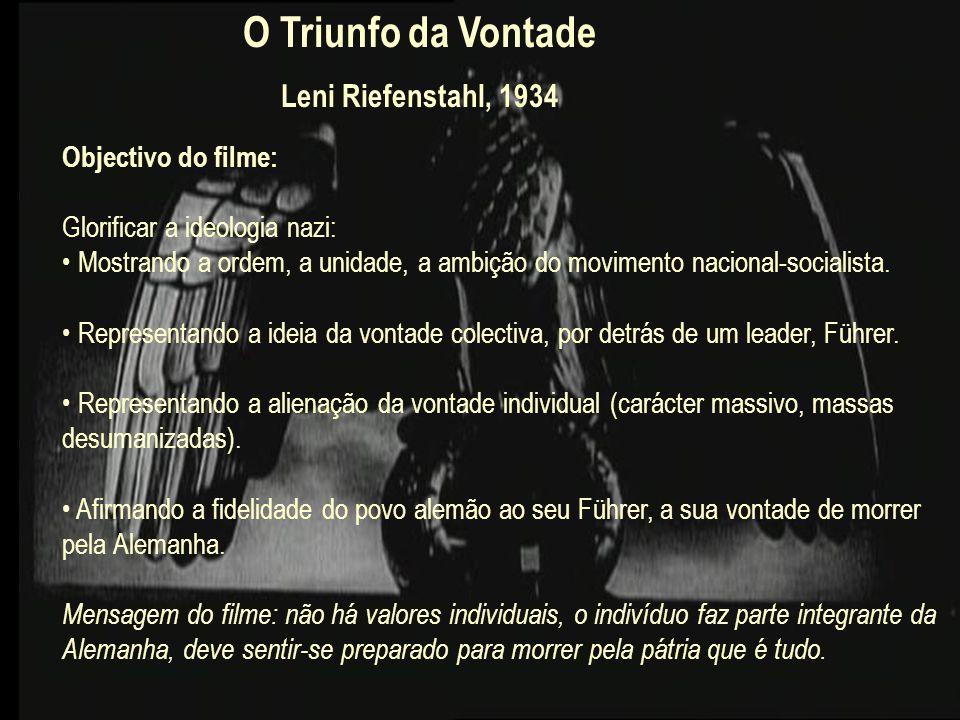 O Triunfo da Vontade Leni Riefenstahl, 1934 Objectivo do filme: