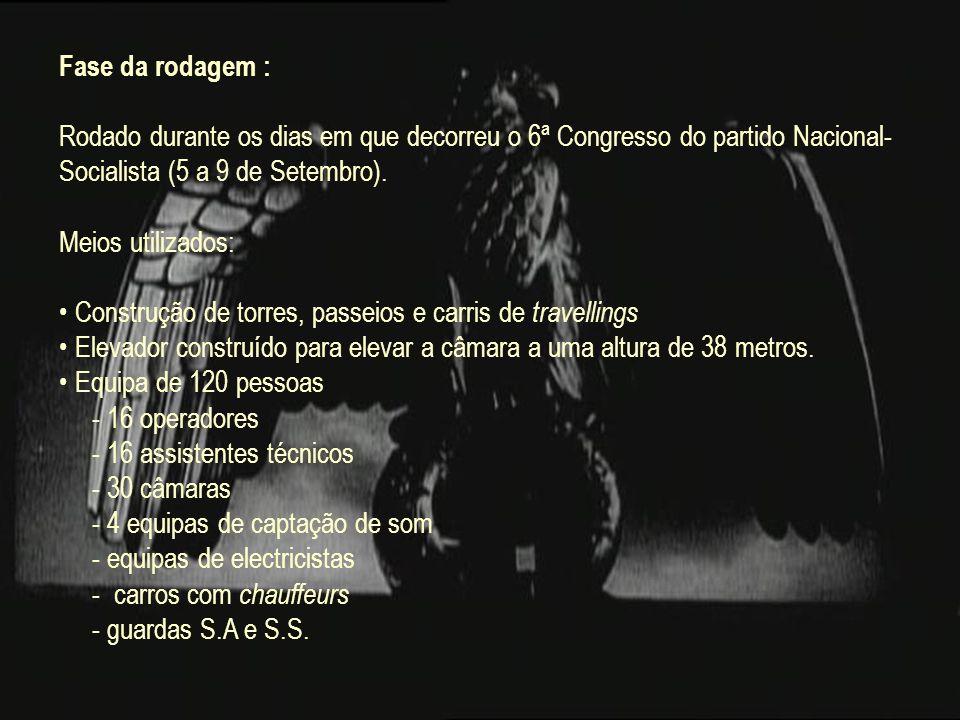 Fase da rodagem : Rodado durante os dias em que decorreu o 6ª Congresso do partido Nacional-Socialista (5 a 9 de Setembro).