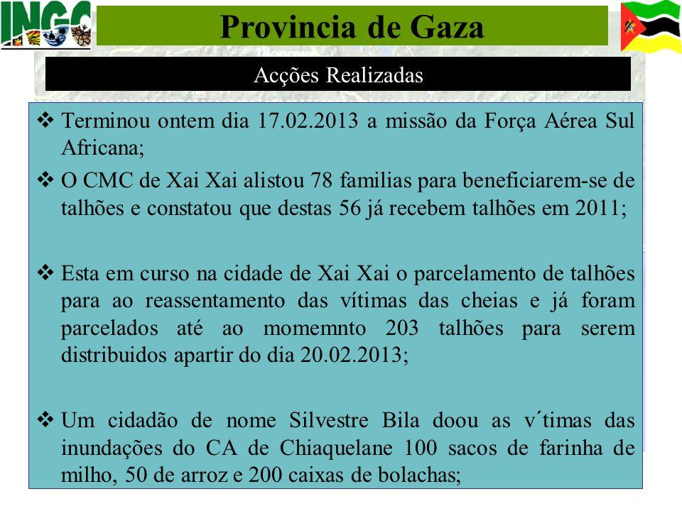 Provincia de Gaza Acções Realizadas
