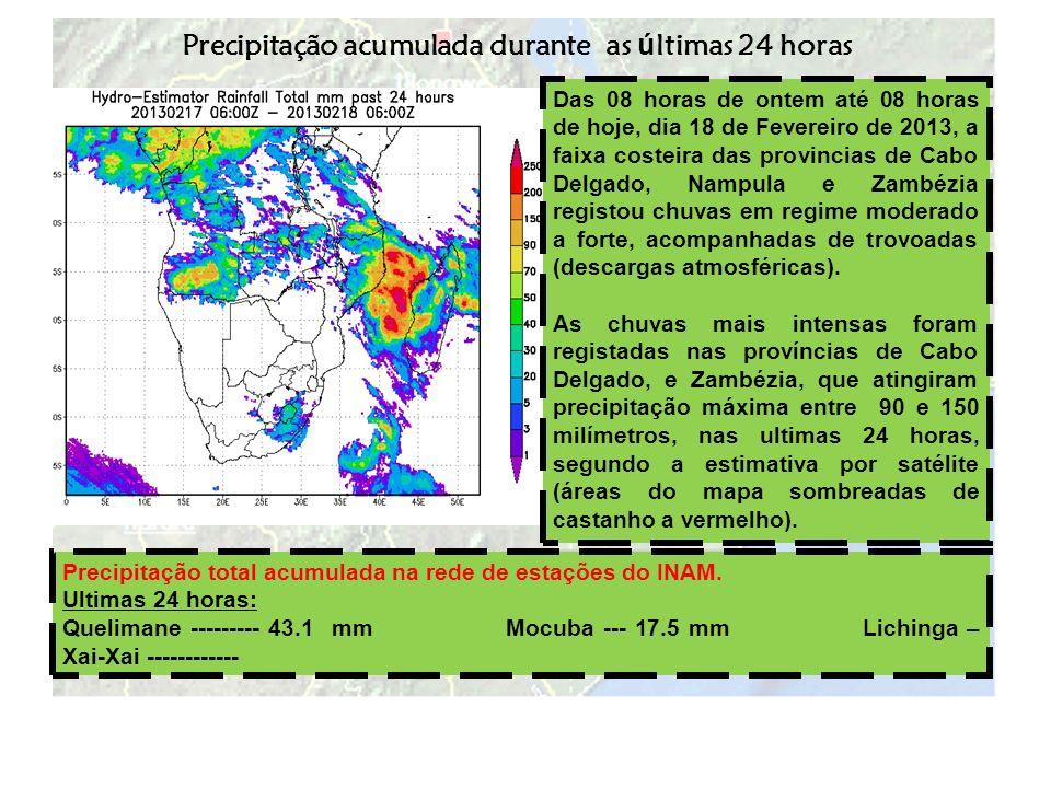 Precipitação acumulada durante as últimas 24 horas