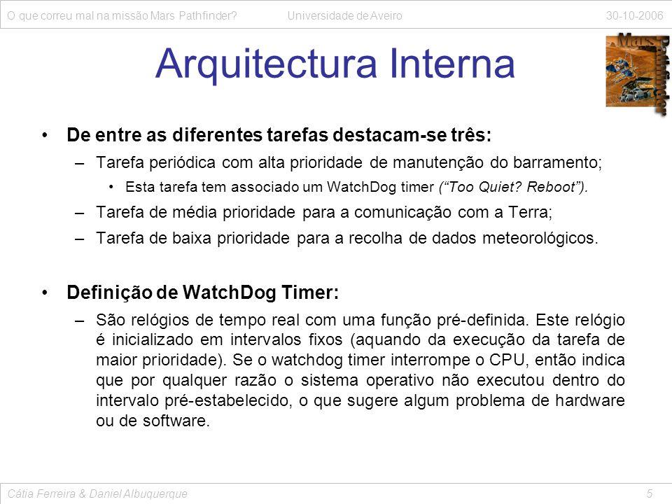 Arquitectura Interna De entre as diferentes tarefas destacam-se três: